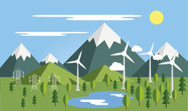 Summer mountains landscape. Summer mountains lanscape with  elements vector Stock Photography