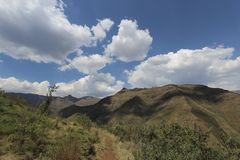 Summer Mountains in Lesotho, seen on a hike near the Maliba Lodge Royalty Free Stock Photo