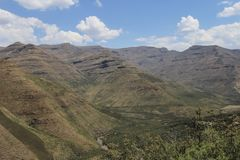 Summer Mountains in Lesotho, seen on a hike near the Maliba Lodge Royalty Free Stock Image