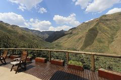 Summer Mountains in Lesotho, seen from the Maliba Lodge Stock Photo