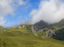 Summer mountains with an observatory in Pyrenees Stock Photos