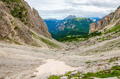 Summer mountains with snow peaks, Dolomites Royalty Free Stock Photos