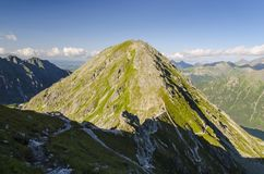 Summer in mountains. View from summit Szpiglasowy Wierch in polish Tatra mountains royalty free stock photos