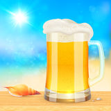 Summer mug of fresh beer on seascape background Stock Photos