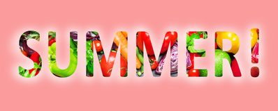 Summer, multi-colored text cut out of vegetables photo, the inscription on pink background vector illustration