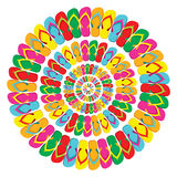 Summer multicolor flip flops mandala Royalty Free Stock Photo