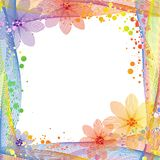 Summer multicolored frame background. Abstract colorful frame with twisty line and floral, summer background Royalty Free Stock Photography