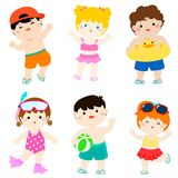 Summer multicultural cute kids in swimsuit  Stock Image
