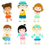 Summer multicultural cute kids in swimsuit  Royalty Free Stock Photography