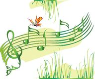 Summer music. Note stave with butterfly and grass Stock Photography