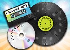Summer Music. Summer Background with Vintage Vinyl Record, Audio Cassette Tape and Compact Disc royalty free illustration