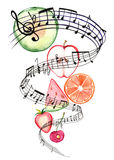 Summer music. Group of fruits falling with music stock illustration