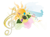 Summer music. Illustration of musical notes with summer symbols. Vector/eps8 Stock Photos