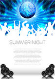 Summer Music Background with Discoball - Vector. Summer Music Background with Instruments - Vector with place for your text Royalty Free Stock Image