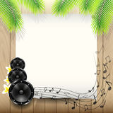 Summer Music Background with Paper under Palm tree Stock Image