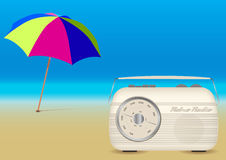 Summer Music on the Beach. Retro Music Summer Background - Beach Umbrella and Retro Radio on Empty Sandy Beach royalty free illustration