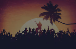 Summer Music Festival Beach Party Performer Excitement Concept.  Stock Images
