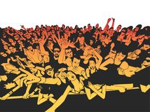 Summer music festival concert crowd, party people. Stylized drawing of party crowd in black and color Stock Photography
