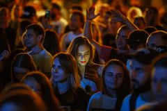 Summer Music Festival Crowd Partying Outdoor Royalty Free Stock Photography