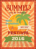 Summer music festival printable poster template or Stock Photo