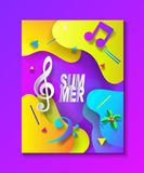 Summer Music Festival Tropical Sea Beach craft. Summer Music Festival, Tropical Blue Sea Beach view scene, Carnival, Islands travel concept, yacht, palms, aqua Royalty Free Stock Photo
