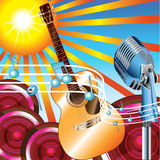 Summer Music Fun. A graphic that can be used to promote events, music festivals, bluegrass and jazz Stock Images