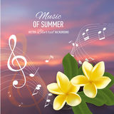 Summer music party template with realistic frangipani, notes and key. Vector illustration. Royalty Free Stock Images