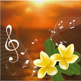 Summer music party template with realistic frangipani, notes and key. Vector illustration. Royalty Free Stock Photography