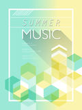 Summer music poster. In light blue and yellow tones Royalty Free Stock Image