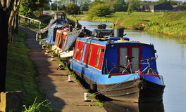 Summer narrowboat moorings Stock Photos