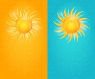 Summer Natural Card Set with Yellow Sun and Flare Royalty Free Stock Photo