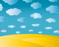 Summer natural landscape. Summer ripe wheat field with beautiful cloudy sky Royalty Free Stock Photos
