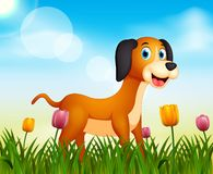 Summer nature background with cute dog illustration royalty free illustration
