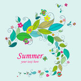 Summer nature background frame. Frame from leaves, flowers and butterflies. Nature frames templates. Summer background Stock Photo