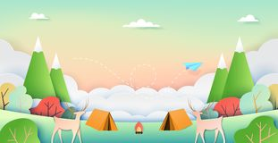 Summer Nature camping paper art style stock illustration