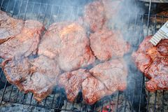 Summer nature grill bbq meat,  barbecued cooking. Summer nature grill bbq meat barbecue outdoor,  barbecued cooking royalty free stock image