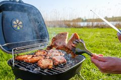 Summer nature grill bbq meat,  garden barbecued. Summer nature grill bbq meat barbecue outdoor,  garden barbecued royalty free stock images