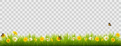 Summer nature landscape banner with flowers and butterflies. Vector Stock Photos