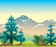 Summer nature landscape - fir,mountain, grass. Summer landscape with blue firs, green grass, fern and snowy mountains on a sunrise sky. Vector illustration. Wild Royalty Free Stock Photography