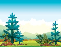 Summer nature landscape - forest, fir, cloudy sky. Wild nature - Green grass, firs, forest and fern on a blue cloudy sky. Summer landscape. Vector illustration Royalty Free Stock Photo