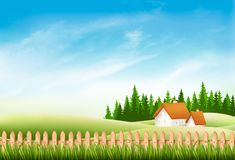 Summer nature landscape with village house, green grass. And fence. Vector Stock Image