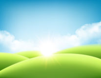 Summer nature sunrise background, a landscape with green hills and meadows, blue sky and clouds. Vector illustration. Summer nature sunrise background, a Stock Photography
