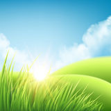 Summer nature sunrise background, a landscape with green hills and meadows, blue sky and clouds. Vector illustration. Summer nature sunrise background, a Stock Images