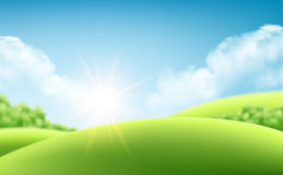 Summer nature sunrise background, a landscape with green hills and meadows, blue sky and clouds. Vector illustration. Summer nature sunrise background, a Royalty Free Stock Images