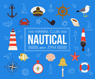 Summer nautical typographical background with place for text. Flat style design. Vector illustration Royalty Free Stock Photo