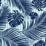 Summer Navy Blue Tropical Forest Leaves Bright Mood On Sky Blue Stripe Seamless Pattern Fashoin Fabric, Wallpaper And Card. Royalty Free Stock Photography
