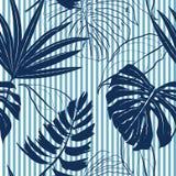 Summer Navy blue tropical forest leaves bright mood on sky blue vector illustration