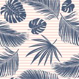 Summer Navy Pink Tropical Forest Leaves Bright Mood On Sky Blue Stripe Seamless Pattern For Fashoin Fabric, Wallpaper And Card. Stock Images