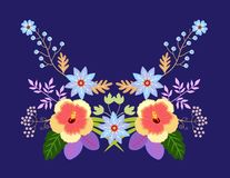 Summer neckline floral pattern. Beautiful symmetric ornament from flowers and leaves. Fashion design for collar for T-shirt. Blouse, shirt. Template for vector illustration