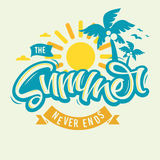 The Summer Never Ends Label Design Brush Script Lettering Callig Royalty Free Stock Image